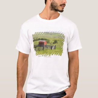 Pasture Fields With A Red Shack And A Fenced Area T-Shirt