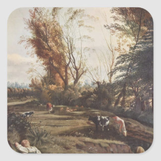 Pasture with two Shepherdesses by Jan Siberechts Square Sticker