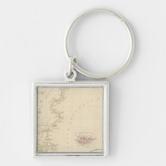 Patagonia, S Shetlands, S Orkneys Silver-Colored Square Key Ring