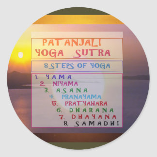 PATANJALI Yoga Meditation Sutra List Round Sticker