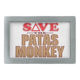 Patas Monkey Save Rectangular Belt Buckle