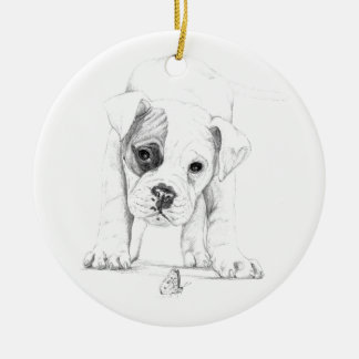 Patch A Boxer Puppy Drawing Art Christmas Ornament