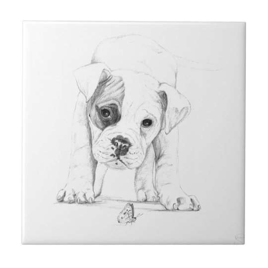 Patch A Boxer Puppy Drawing Art Small Square Tile
