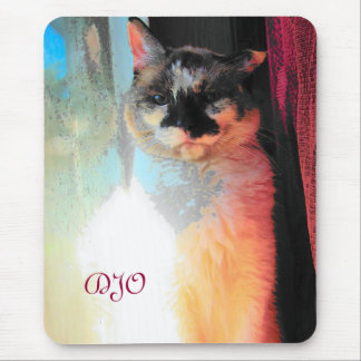Patch of Sun Grumpy Calico Cat Mouse Pad