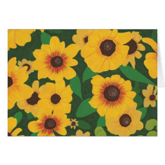 Patch of Yellow Sunflowers Painting Greeting Cards