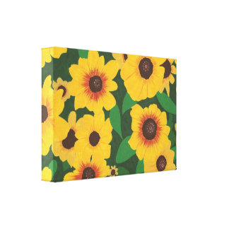 Patch of Yellow Sunflowers Painting Wrapped Canvas Canvas Prints