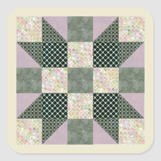 Patch Star Dk Green and Lavender Square Sticker