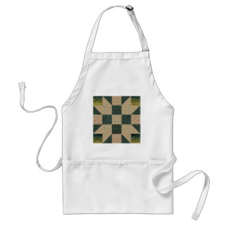 Patch Star Gold & Green Calico Apron