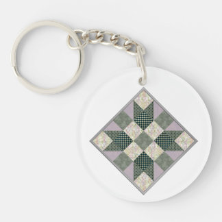 Patch Star Quilt Block Lavender & Green Key Ring