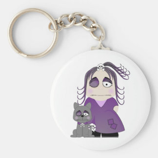 Patched Gothic Girl And Cat In Purple Basic Round Button Key Ring