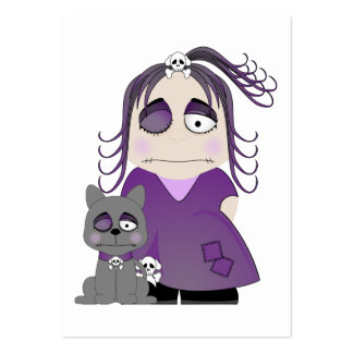 Patched Gothic Girl And Cat In Purple Pack Of Chubby Business Cards