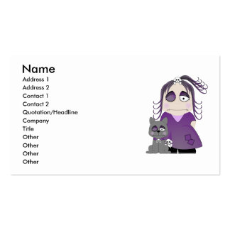Patched Gothic Girl And Cat In Purple Pack Of Standard Business Cards