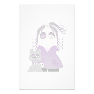Patched Gothic Girl And Cat In Purple Customized Stationery