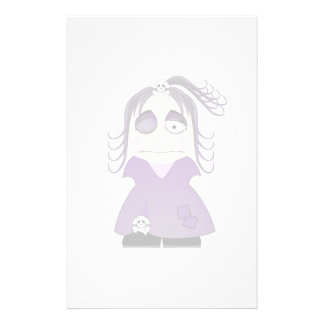 Patched Gothic Girl In Purple Customized Stationery