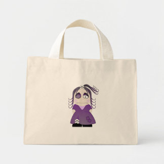 Patched Gothic Girl In Purple Canvas Bag