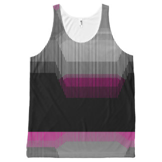 Patched Stripes All-Over Print Tank Top