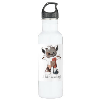 Patches the Cat water bottle I like reading!