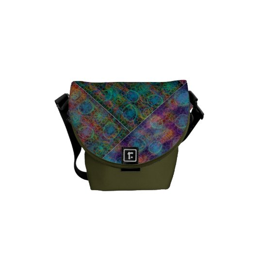 Patchwork Abstract Shoulder Bag, Olive Courier Bags