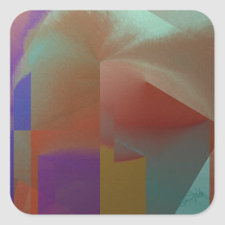 Patchwork Abstract Square Sticker