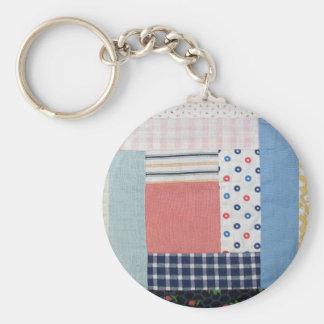 Patchwork Basic Round Button Key Ring