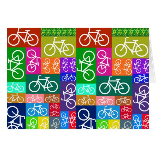 Patchwork Bicycles Art Greeting Cards