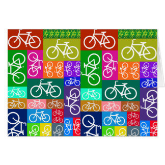 Patchwork Bicycles Art Greeting Card