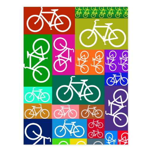 Patchwork Bicycles Art Postcards