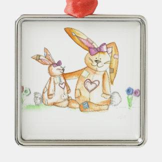 patchwork bunnies/ bunny rabbit christmas ornament