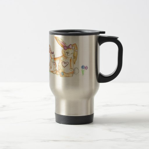 patchwork bunnies/ bunny rabbit coffee mugs