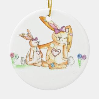 patchwork bunnies/ bunny rabbit round ceramic decoration