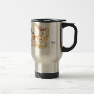 patchwork bunnies/ bunny rabbit travel mug