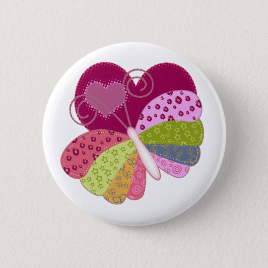Patchwork Butterfly Heart 6 Cm Round Badge