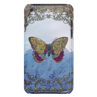 Patchwork Butterfly in Gold Over Mountains iPod Touch Cover