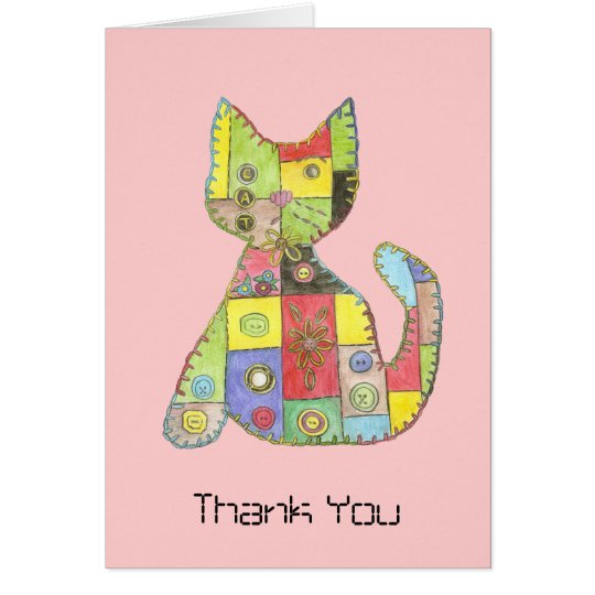 Patchwork Cat thank you card