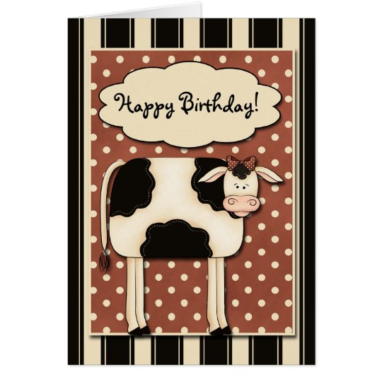 Patchwork Cow Birthday Card