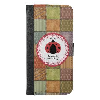 Patchwork cute trendy girly ladybug  monogram iPhone 6/6s plus wallet case