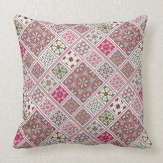 Patchwork Design in Pink and Red Cushion
