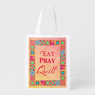 Patchwork Eat Pray Quilt Reusuable Shopping Bag
