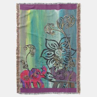 Patchwork Elephants Throw Blanket