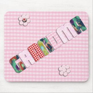 Patchwork 'Grandma' On Checkered Pink Mouse Mat