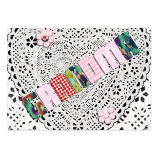 Patchwork 'Grandma' On Lace Pack Of Chubby Business Cards