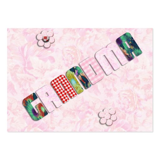 Patchwork 'Grandma' On Pink Roses Business Card