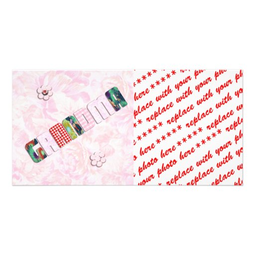 Patchwork 'Grandma' On Pink Roses Personalized Photo Card