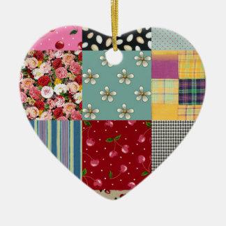 Patchwork Heart Ceramic Ornament