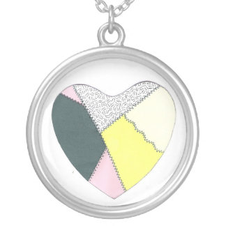 Patchwork Heart Round Pendant Necklace