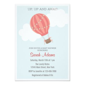 Patchwork Hot Air Balloon Baby Shower Invitation