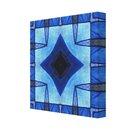 Patchwork in Blue Stretched Canvas Print