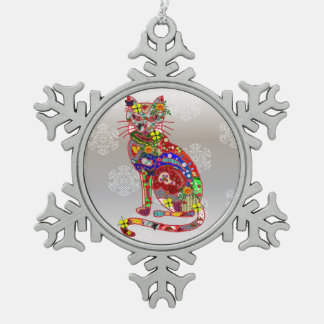 Patchwork Kitty Snowflake Pewter Christmas Ornament