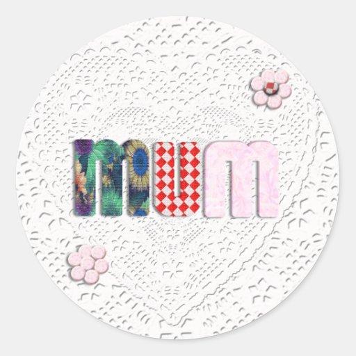 Patchwork 'MUM'  on Lace Round Sticker