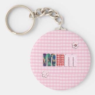 Patchwork 'MUM'  on Pink Checkerboard Keychain